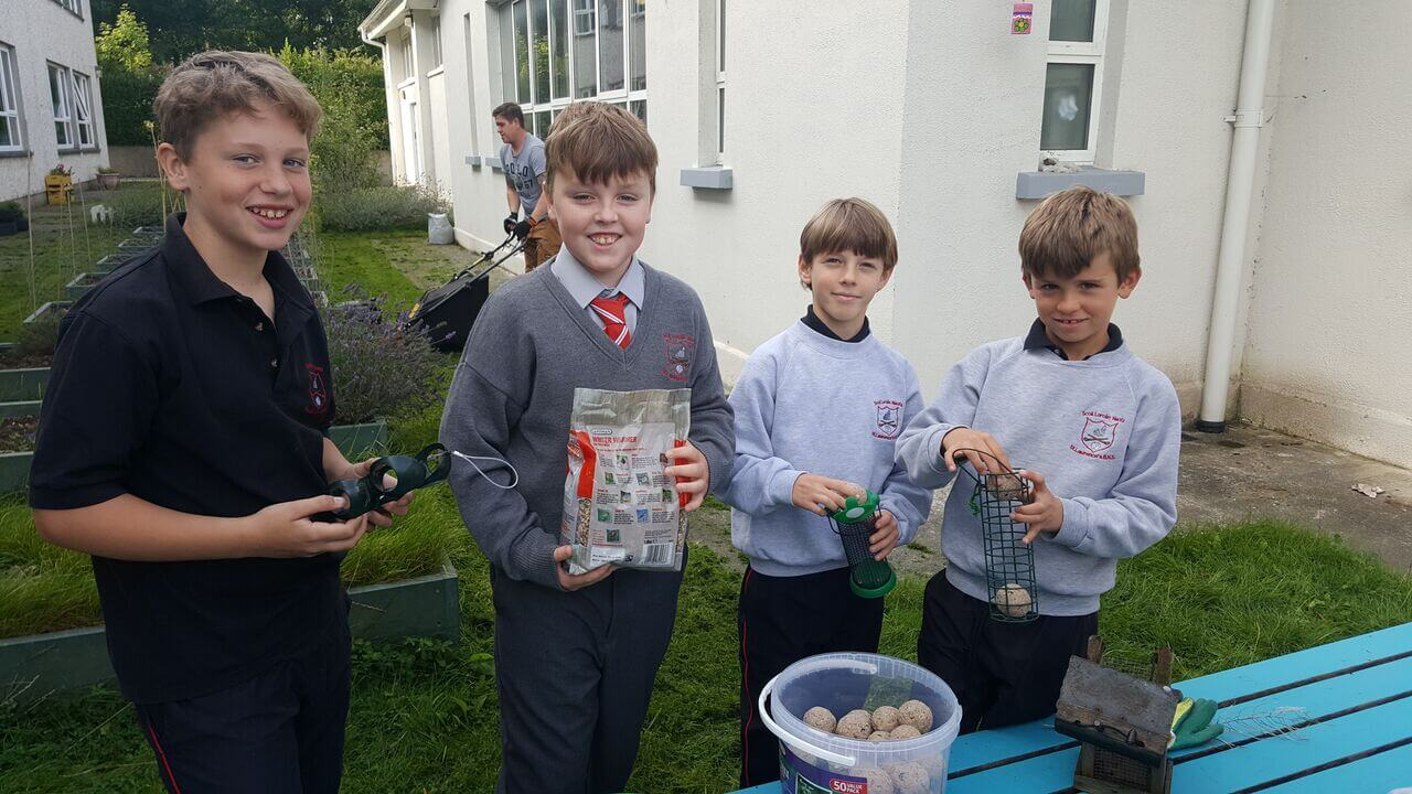 A photo of St Laurence BNS students in their school garden