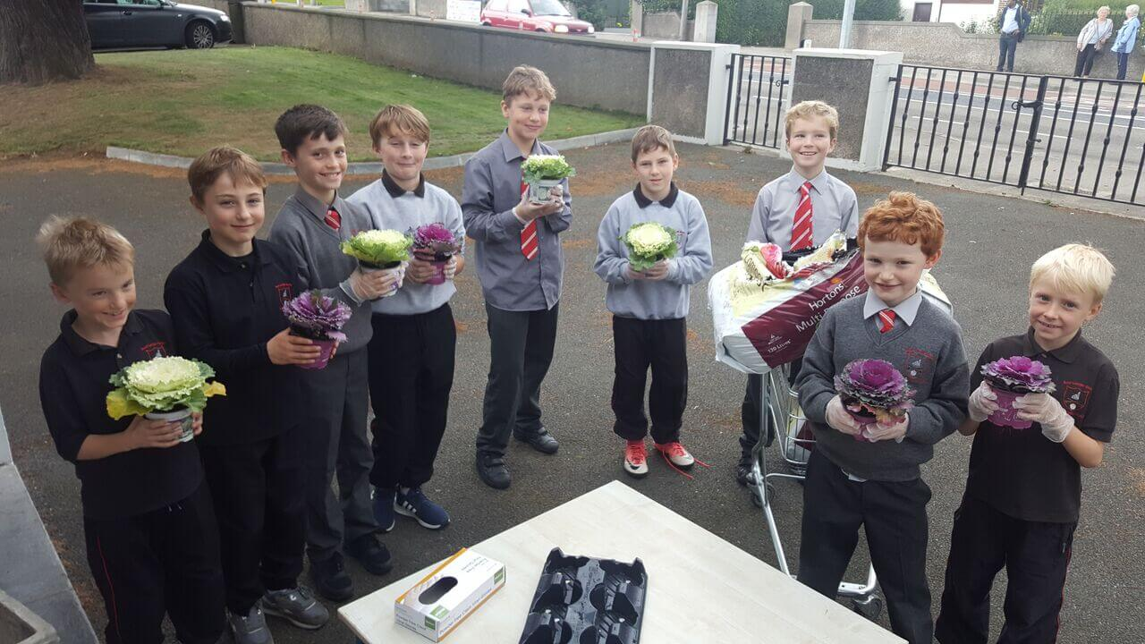 A photo of St Laurence BNS students in their school garden_1