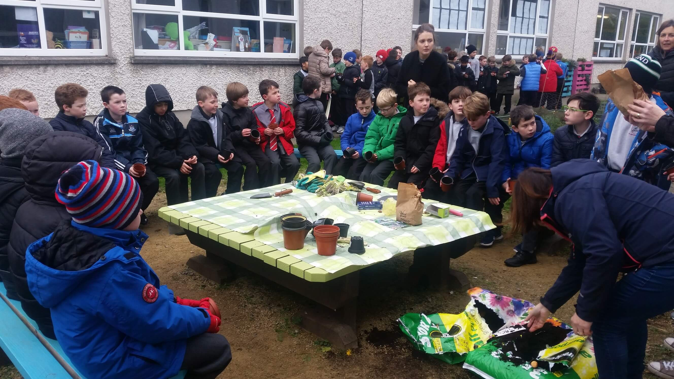A photo of St Laurence BNS students in their school garden_4