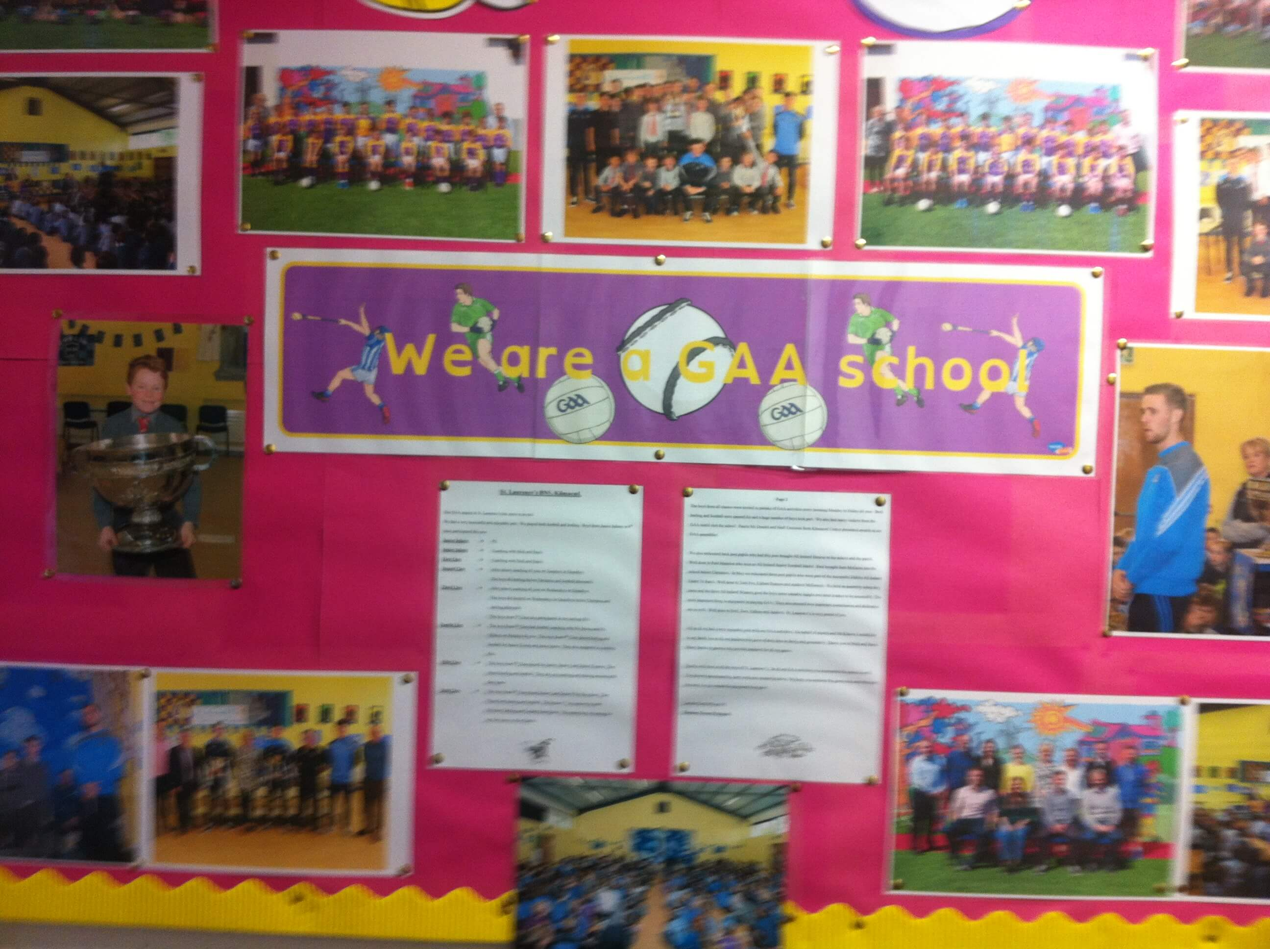 A photo of a St Laurences BNS sports board_1