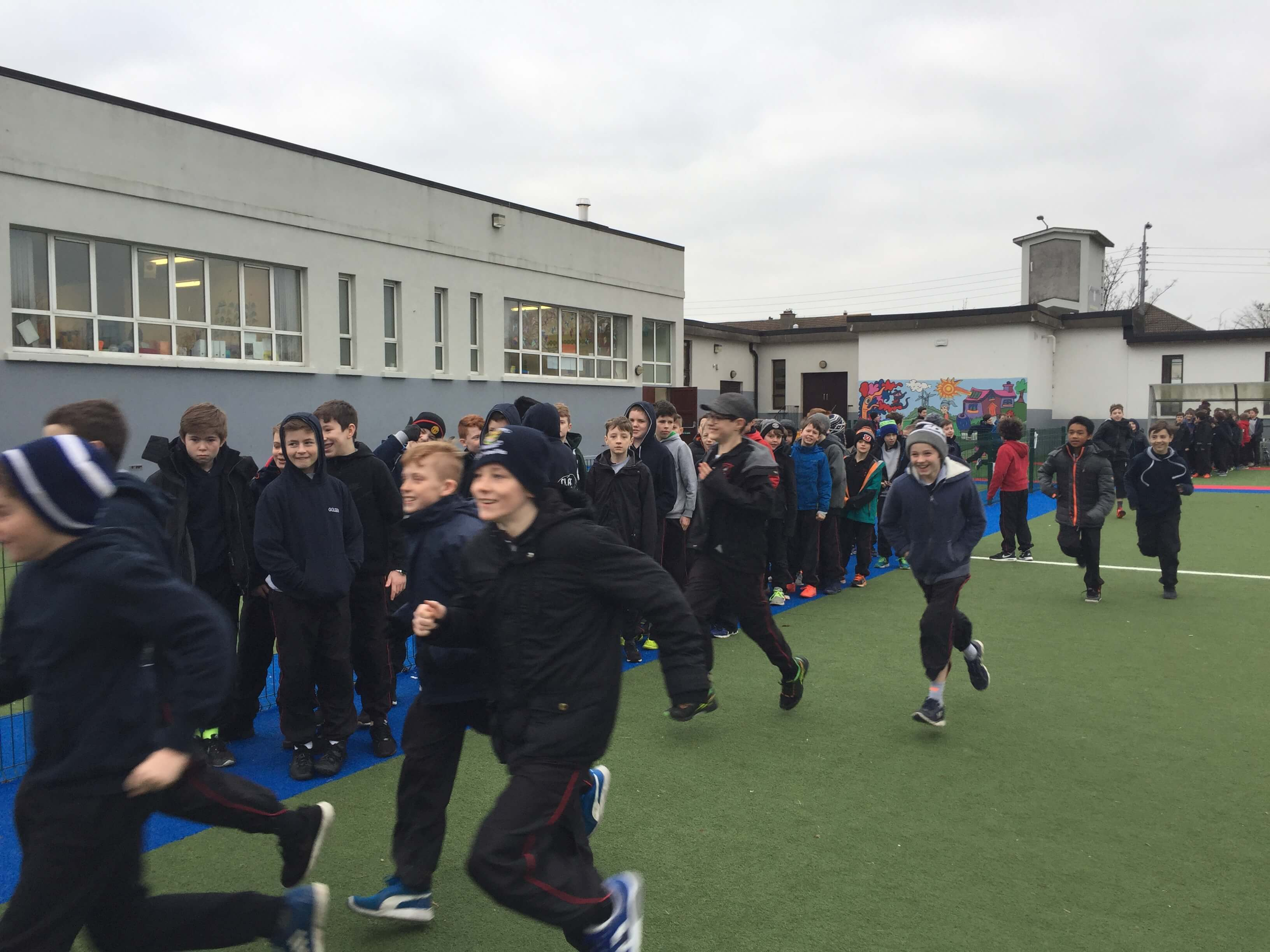 A photo of a St Laurences BNS students marching in the school yard on Active Day
