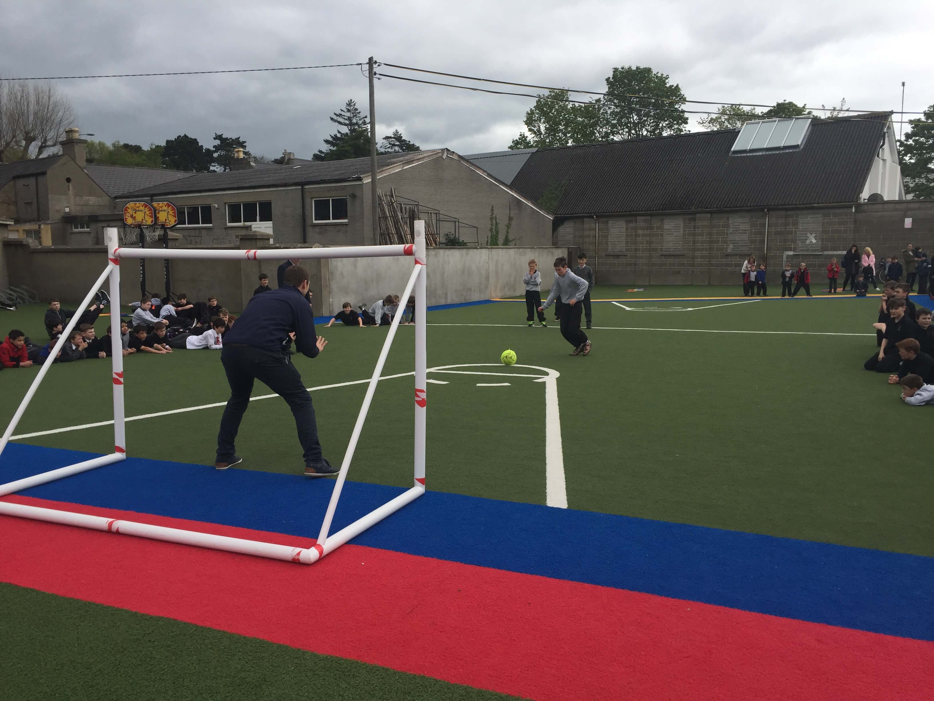 A photo of a St Laurences BNS teacher as a goalkeepers during a football game on Active Day_10