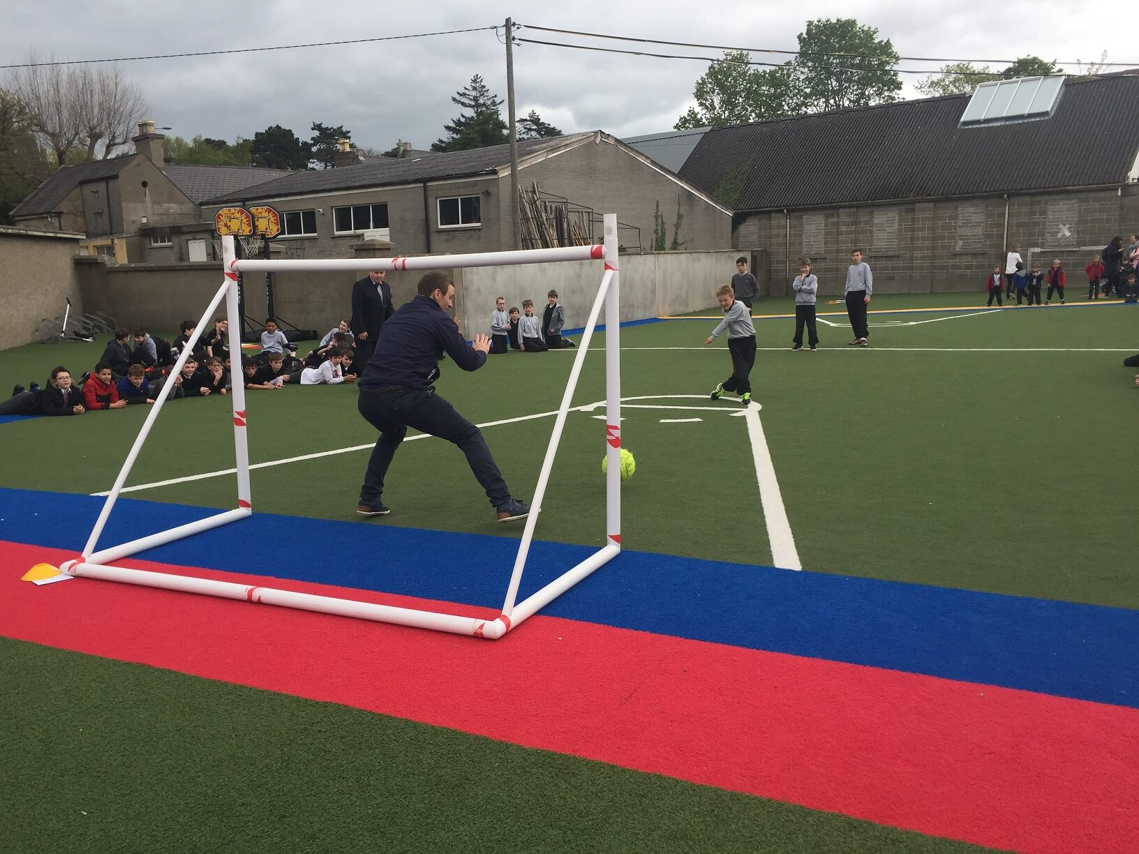 A photo of a St Laurences BNS teacher as a goalkeepers during a football game on Active Day_13