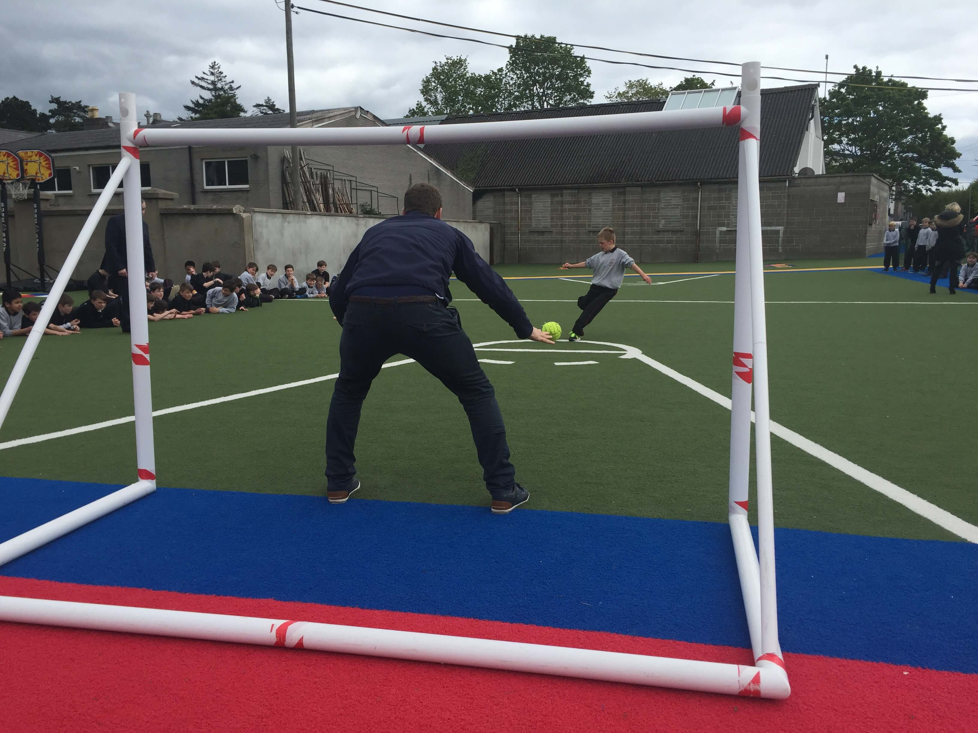 A photo of a St Laurences BNS teacher as a goalkeepers during a football game on Active Day_3