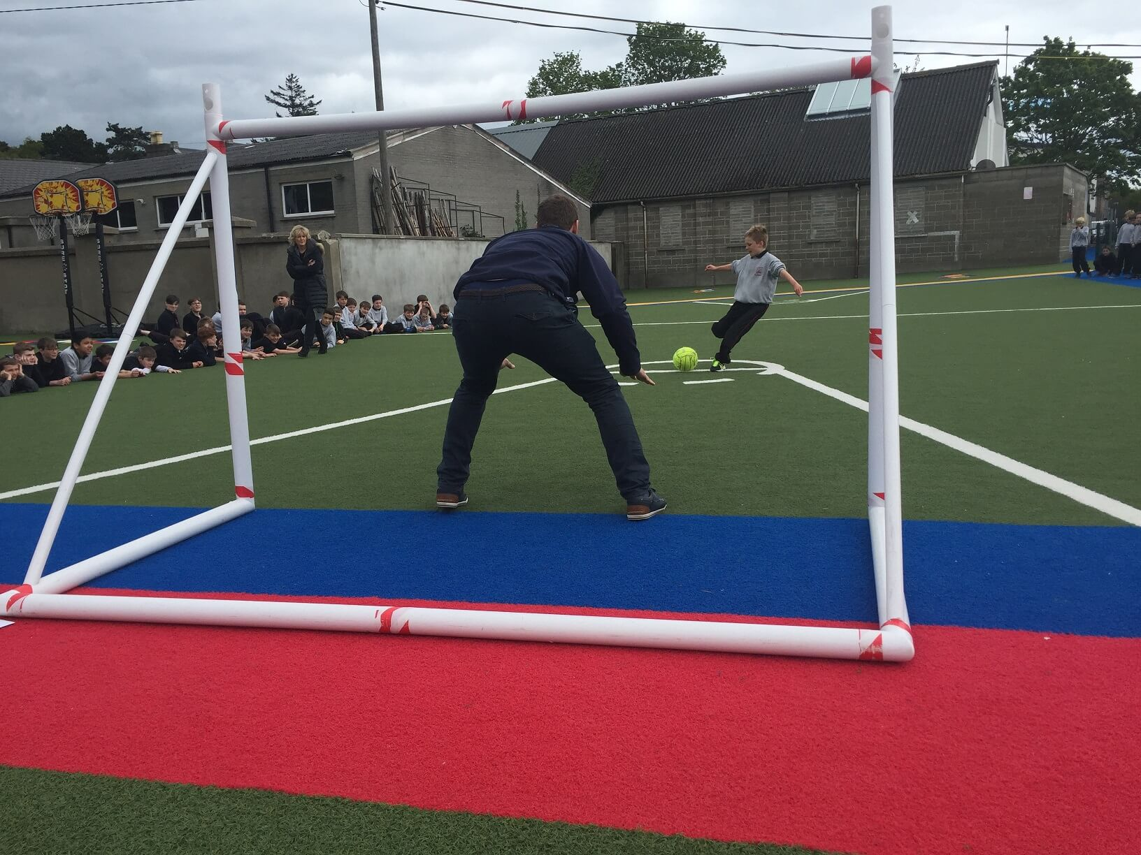 A photo of a St Laurences BNS teacher as a goalkeepers during a football game on Active Day_5