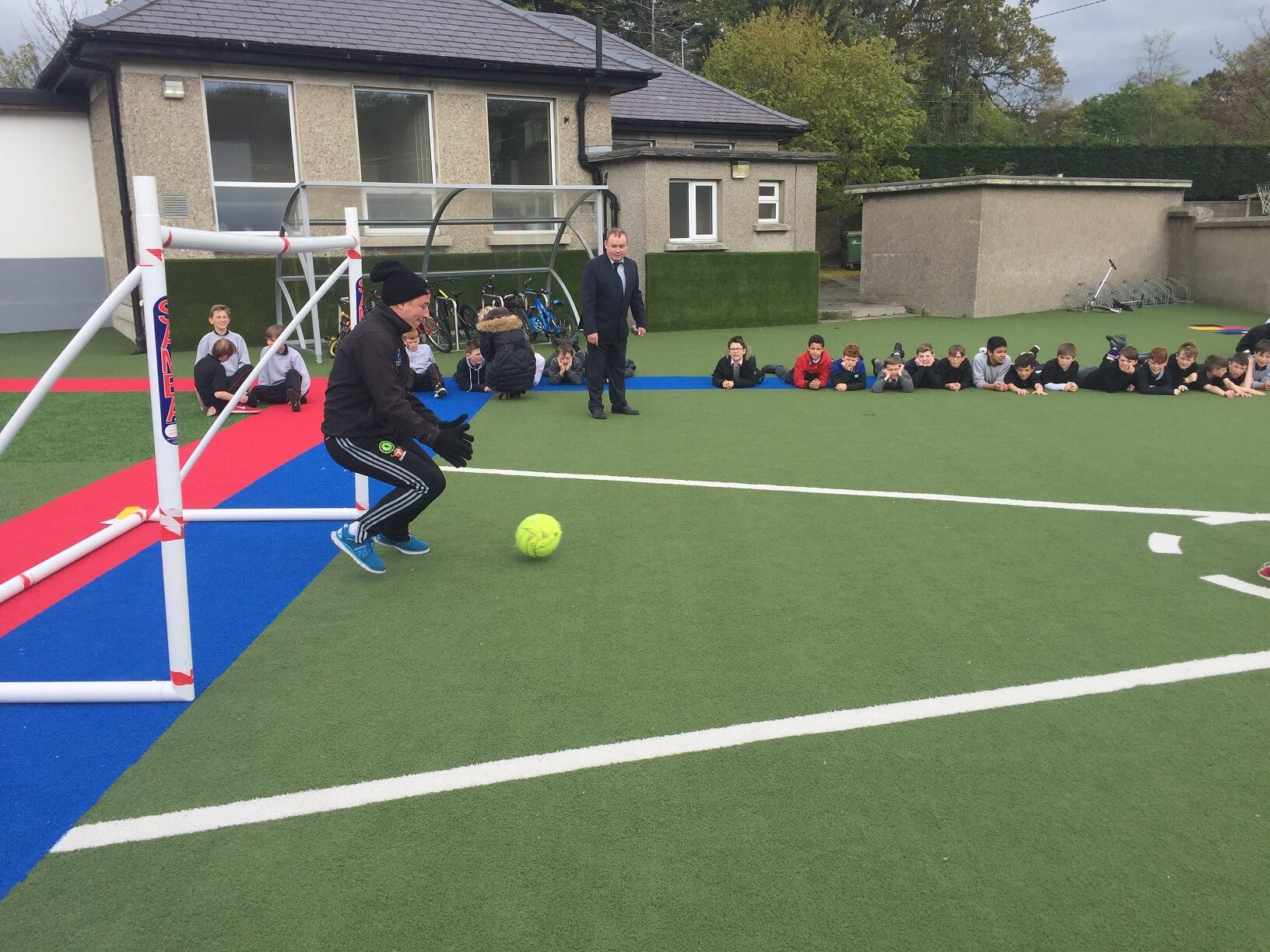 A photo of a St Laurences BNS teacher as a goalkeepers during a football game on Active Day_6