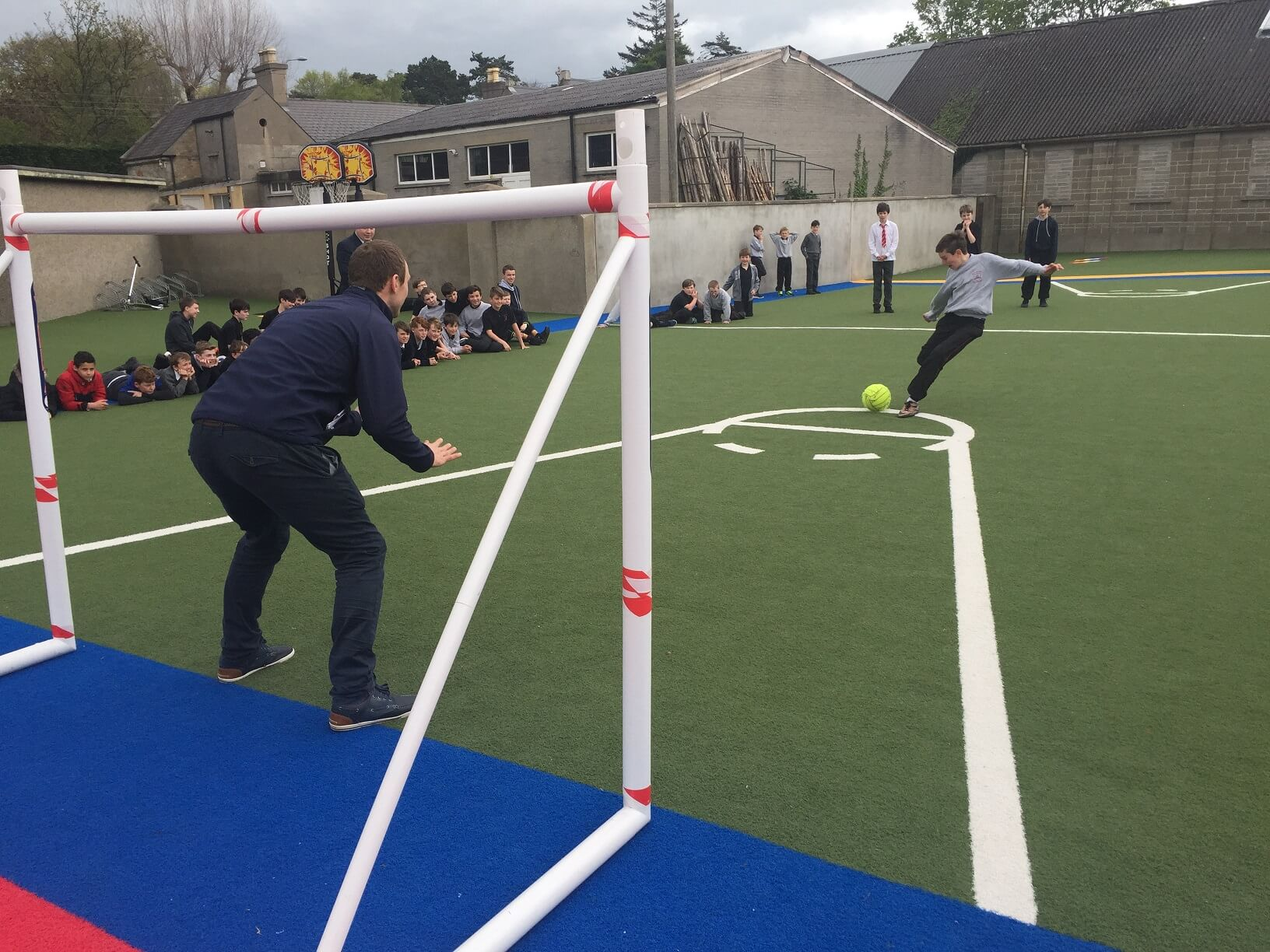 A photo of a St Laurences BNS teacher as a goalkeepers during a football game on Active Day_9